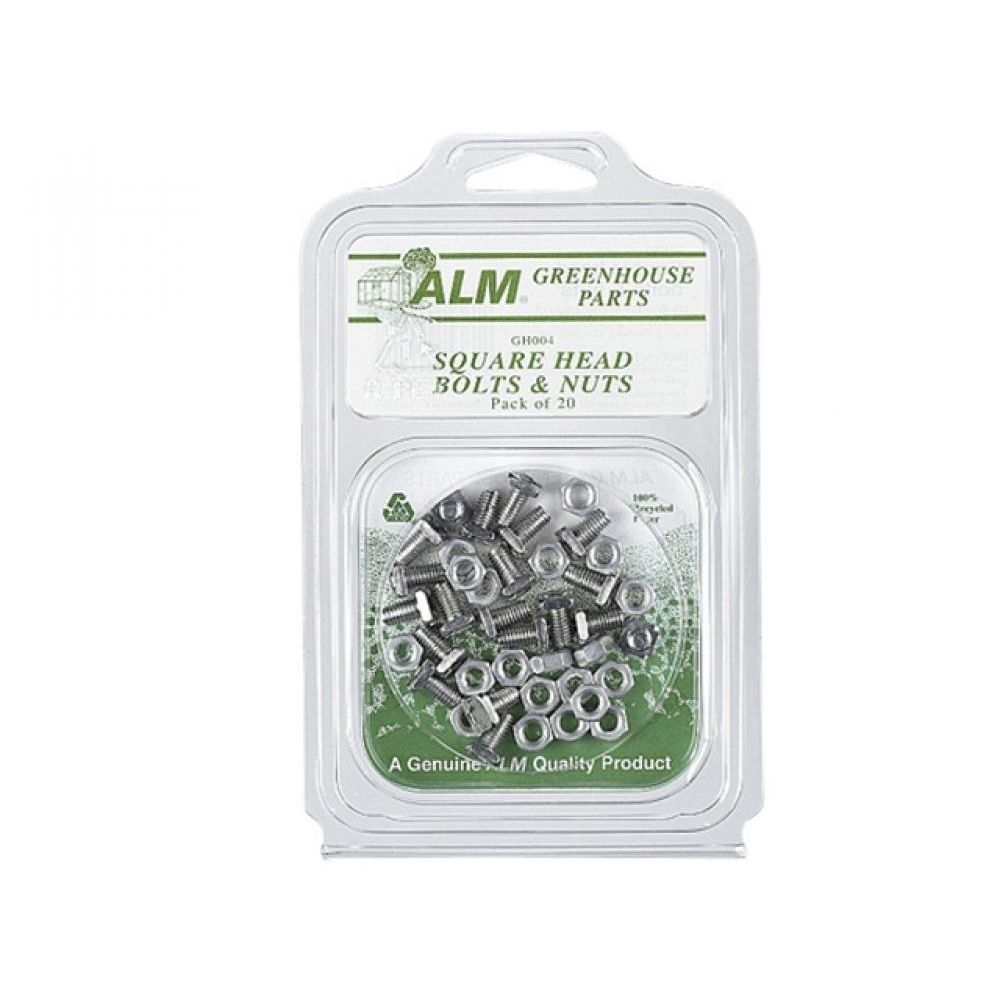 SQUARE GLAZE BOLTS NUTS (20) ALMGH004