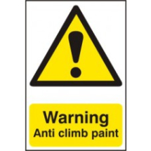 WARNING ANTI CLIMB PAINT PVC 200mm x 300mm