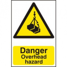 DANGER OVERHEAD HAZARD PVC 200mm x 300mm
