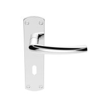 DOS LEVER LOCK ON BACKPLATE SZC021CP  POLISHED CHROME