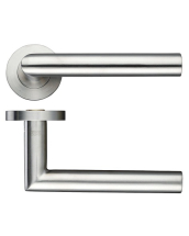 SATIN STAINLESS OVAL MITRED LEVER ON ROUND ROSE ZCS050SS