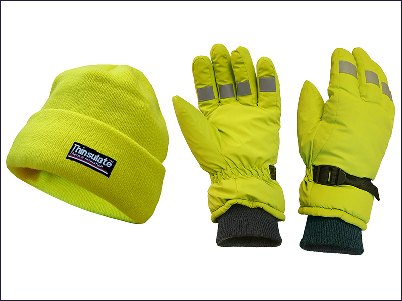 HI-VISIBILITY BEANIE HAT & GLOVES YELLOW SCAWWHVGLOPK