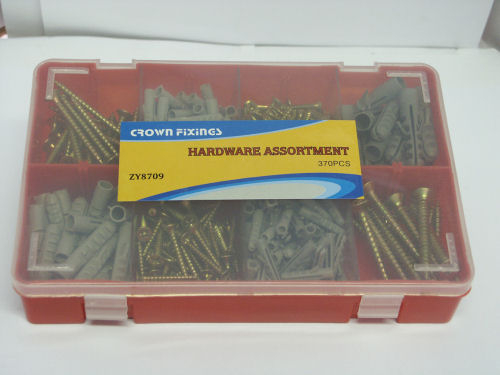Crown ZY8709 SCREW & ANCHOR PLUG FIXING SET 370 pieces