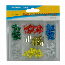 Crown ZY710 Push Pin Assortment Blister Pack 76 pieces