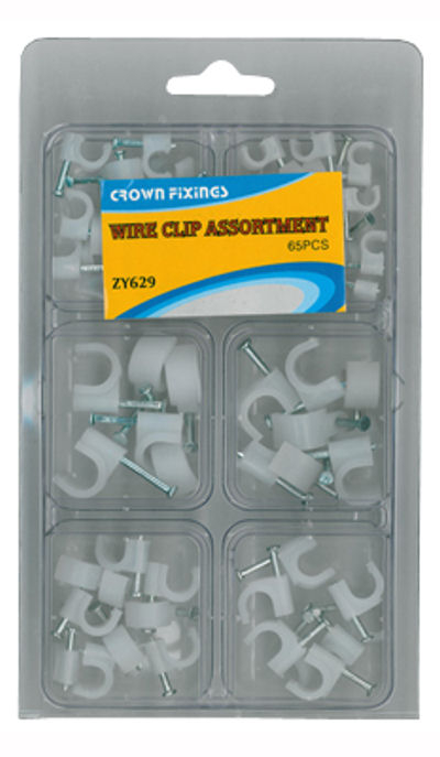 Crown ZY629 Cable Clip Assortment Blister Pack 65 pieces